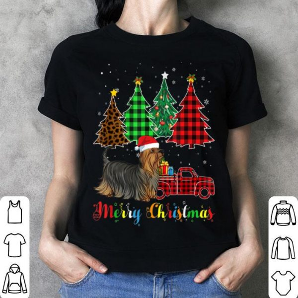 Nice Silky Terrier Red Plaid Truck Christmas shirt