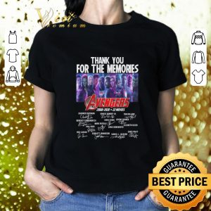 Official Thank you for the memories Avengers 2008-2019 22 movies signatures shirt