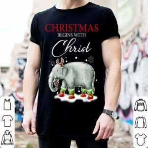Original Merry Xmas Christmas begins with Christ elephant Santa gift shirt