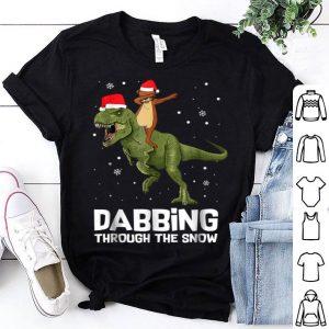 Original Otter Dabbing Rides Dinosaur Christmas Pajama shirt