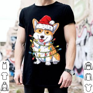 Premium Corgi Christmas Santa Boys Kids Xmas Lights Corgmas shirt