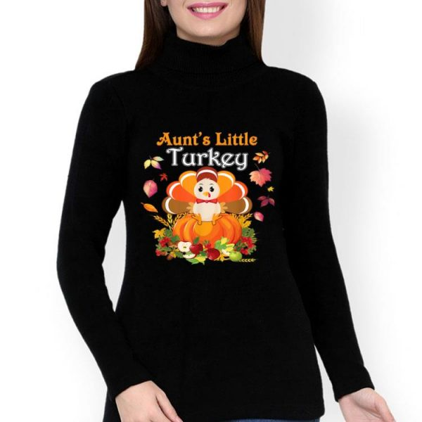 Top Aunt's Little Turkey I'm Thankful For My Blessed Family shirt