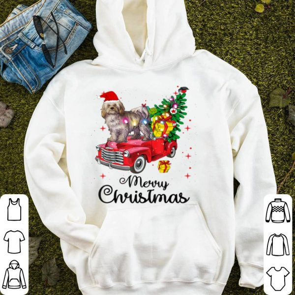 Awesome Havanese Rides Red Truck Christmas Pajama sweater