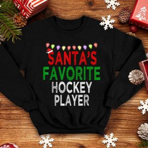 Awesome Santa's Favorite Hockey Player Christmas Xmas Lights Hat sweater