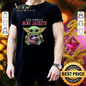 Cool Baby Yoda Hug Columbus Blue Jackets Star Wars shirt 2