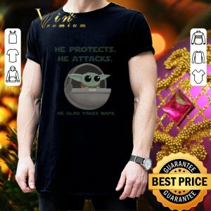 Cool Baby Yoda he protects he attacks he also takes naps Star Wars shirt 2