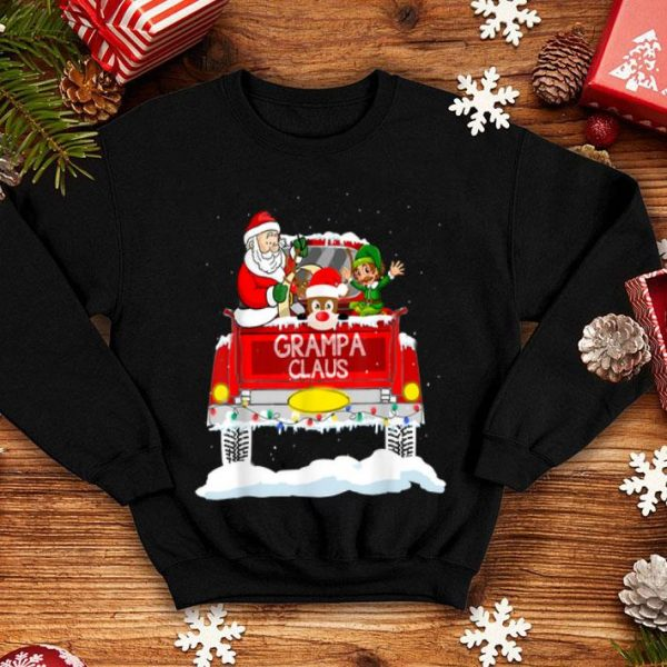 Mens Grampa Claus Reindeer Elf Truck Rides Christmas Funny Gift sweater