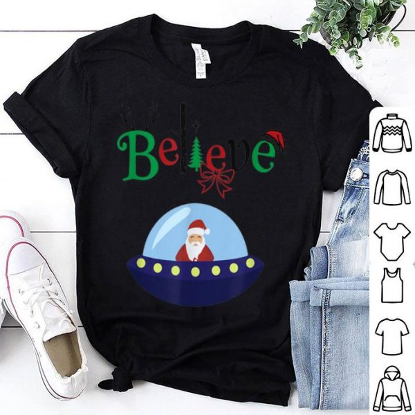 Nice Funny Santa Claus Believe UFO Christmas sweater
