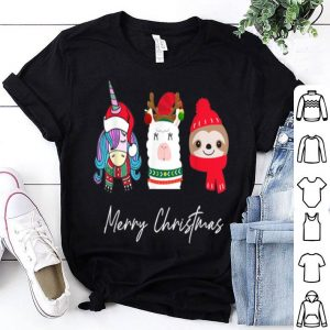Nice Merry Christmas Cute Unicorn Llama Reindeer Sloth Gifts Kids sweater