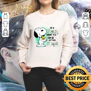 Nice Snoopy Woodstock in a world where you can be anything be kind shirt