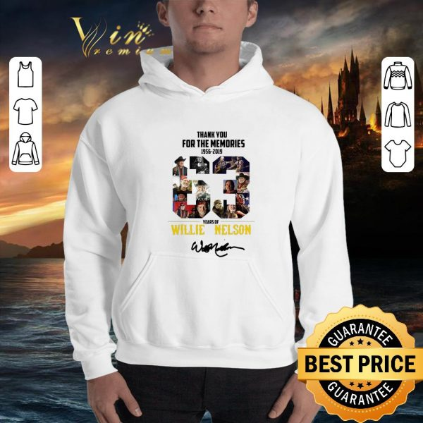 Nice Thank You For The Memories 1956-2019 63 Years Of Willie Nelson Signature shirt