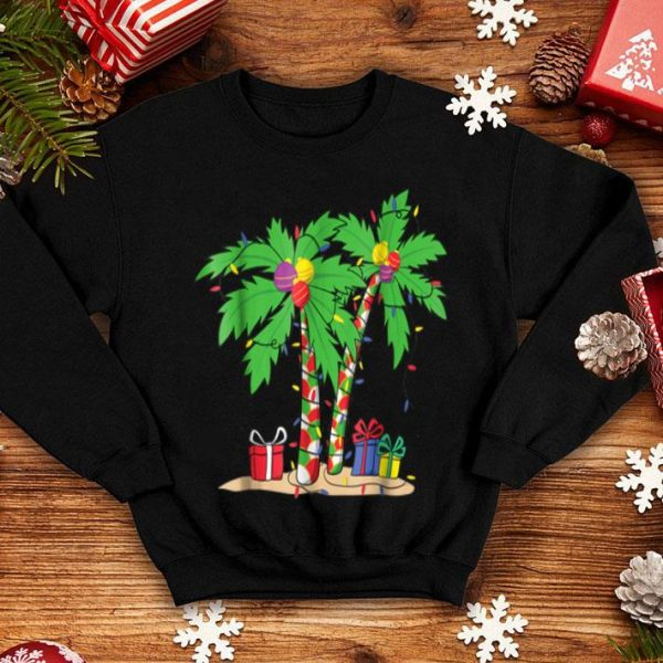 Pretty Decorated Christmas Palm Tree Tropical Xmas Coconut sweater