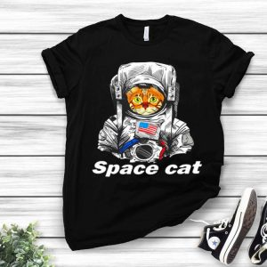 Astronaut Space Cat America Flag Space Force shirt