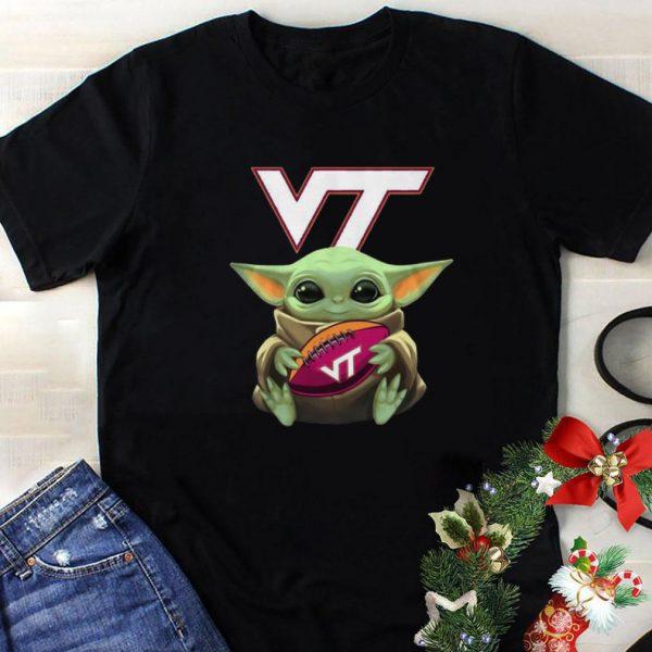 Nice Baby Yoda Hug Virginia Tech Ball Logo Star Wars shirt