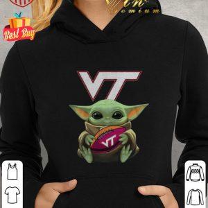 Nice Baby Yoda Hug Virginia Tech Ball Logo Star Wars shirt 1