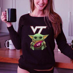 Nice Baby Yoda Hug Virginia Tech Ball Logo Star Wars shirt 2