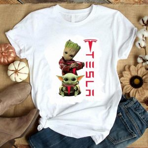 Cool Baby Groot And Baby Yoda Tesla Star Wars shirt