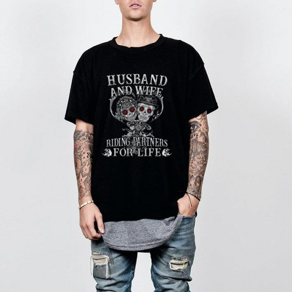 Skeletons motorbike husband and wife riding partners for life shirt
