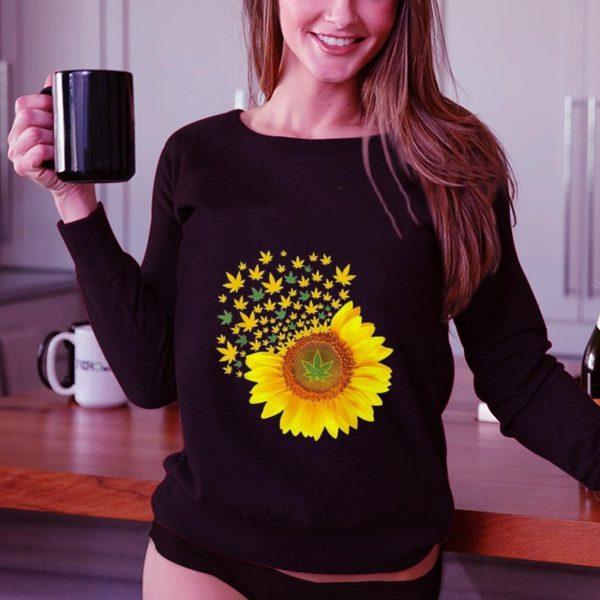 Weed Leaves Sunflower Marijuana shirt