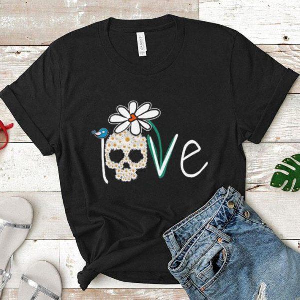Skull Love White Daisy Flower bird shirt