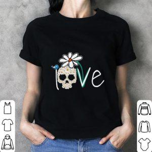 Skull Love White Daisy Flower bird shirt 2