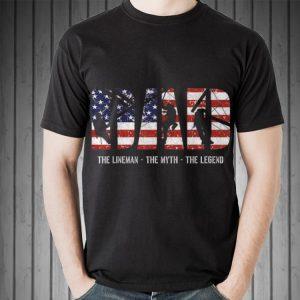 Lineman Dad Dad Myth Legend American Flag shirt