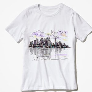 New York City skyline NYC sunset Graphic souvenir shirt 1