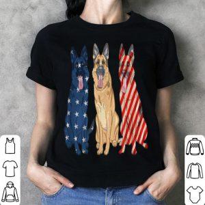 3 German Shepherd Patriotic US American Flag July 4th
