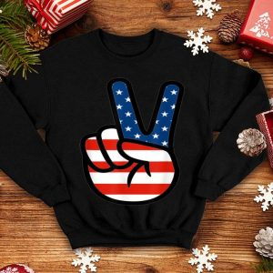 4th Of July American Flag Peace Sign Hand shirt