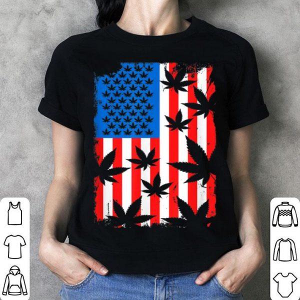 4th Of July Cannabis Leaf Weed American Flag shirt