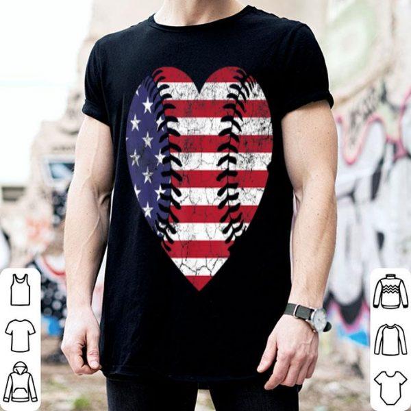 Baseball American Flag Usa Vintage Heart 4th Of July shirt