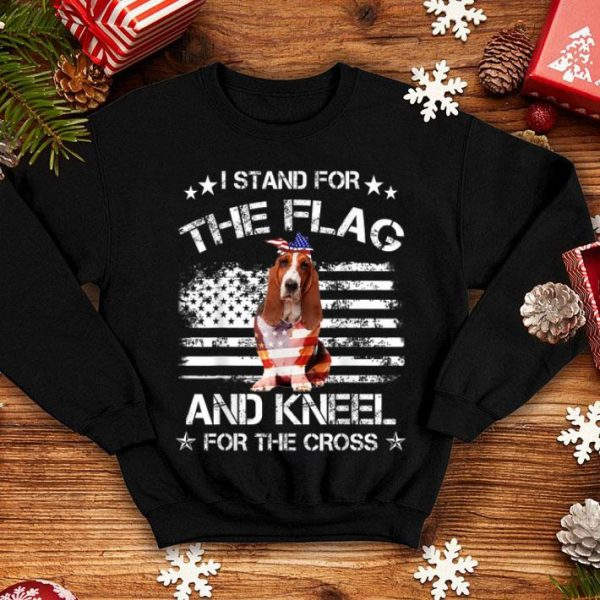 Basset Hound Dog Stand For The Flag Kneel For Fallen shirt