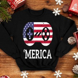Kids Boys Merica 4th Of July Gamer American Flag shirt