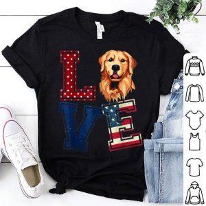 Love Golden Retriever Face American Flag 4th Of July shirt