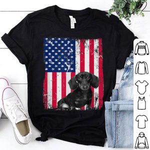 Patriotic Dachshund American Flag Heart 4th Of July shirt