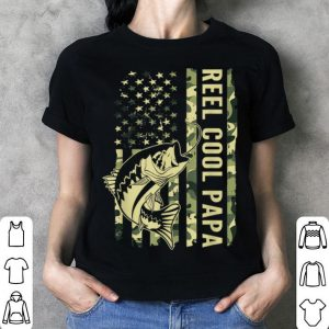 Reel Cool Papa Camouflage American Flag Father Day shirt
