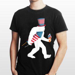 Bigfoot Take American Flag Fireworks Ice Cream Magic Hat 4th Of July shirt