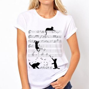 Black Cat Playing Mucsic Note Clef Musician shirt