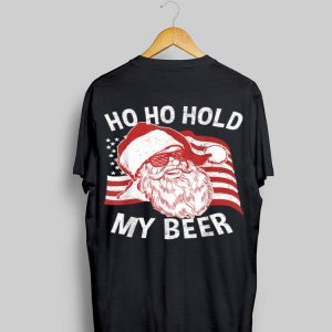 Christmas In July Santa Sunglass Ho Ho Hold My Beer American Flag shirt