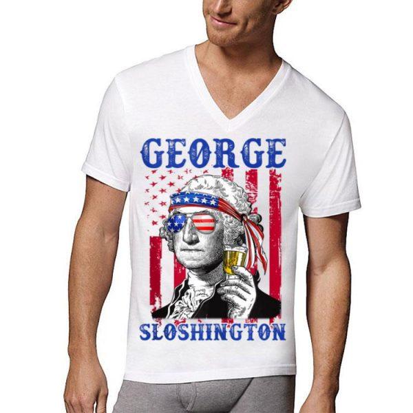 George Sloshington Sunglass Headband Amrican Flag shirt