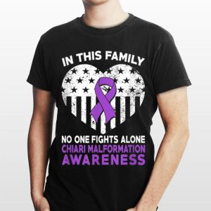 In This Family No One Fight Alone Chiari Malformation Heart American Flag shirt