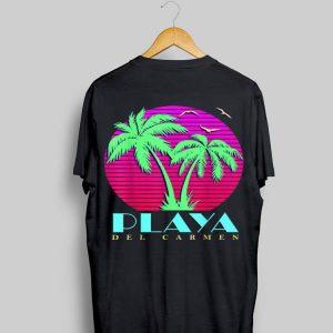 Summer Sunset Playa Del Carmen Mexico 80s Palm Trees Beach shirt