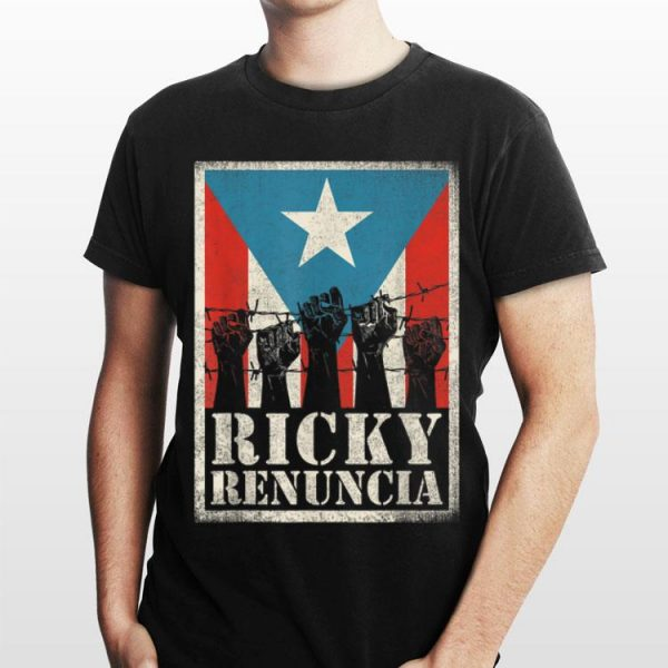 The fist barbed wire Ricky Renuncia Puerto Rico Flag shirt