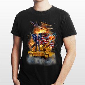 United States President Donald Trump Epic Battle Tank Jet Plane American Flag shirt