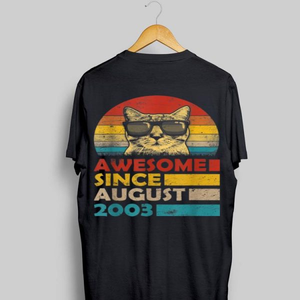 Vintage Cat Sunglass Awesome Since August 2013 shirt