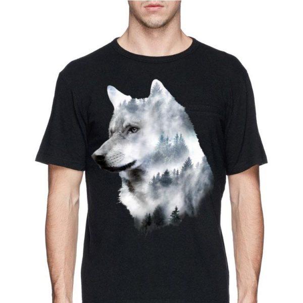 Wolf Doppel Belichtung Fog Forest shirt