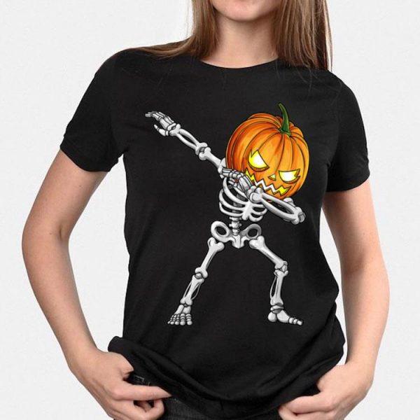 Dabbing Skeleton Pumpkin Halloween shirt