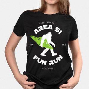 First Annual Area 51 Fun Run Bigfoot Ufo shirt