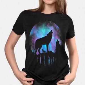 Howling Wolf Galaxy Moon shirt