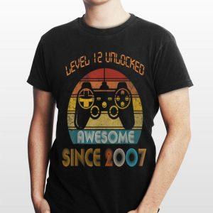 Level 12 Unlocked Awesome Since 2007 Vintage shirt